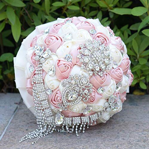 FidgetKute Handmade Wedding Bridal Bouquet Satin Silk Rose Pearl Crystal Brooch Tassel Cream White&Pink Gold One Size