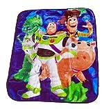 Toy Story Super Warm & Cozy - Toddler Bed Size: 40' x 50' Royal Plush Raschel Throw/Blanket - Featuring: Disney Pixar Wild Bunch with Rex, Buzz, Woody & Hamm