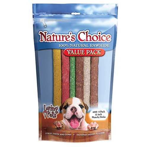 Loving Pets Nature's Choice 100-Percent Natural Rawhide Munchy Sticks Value Pack Dog Treat, 12-Inches, 6/Pack (Assorted Colors)