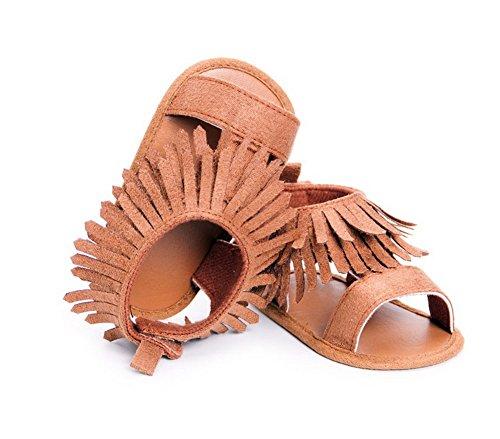 modakeusu Unisex Bebé Borla de sandalias suela de goma antideslizante verano Prewalker primera caminantes, caqui, Size 2 (12cm) café