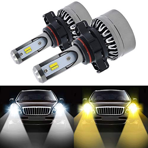 (5202 Led Headlight Bulb, 8000LM Fog Light Extremely Bright Dual Color (6000K/3000K) Anti-Flicker HB2 Hi/lLo Conversion Kit Halogen Bulbs Replacement - Cool White/Golden Yellow - 2 Years Warranty)