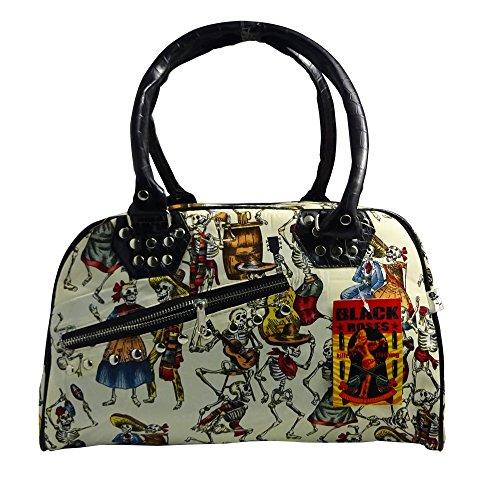 Fashionable Skull Canvas Shoulder Bag with Eternal Fiesta Design in Cream (Hula Purse)