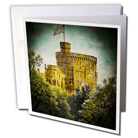 (Scenes from the Past Magic Lantern - Victorian Era Magic Lantern Slide Windsor Castle Round Tower Vintage - 1 Greeting Card with envelope (gc_246138_5))