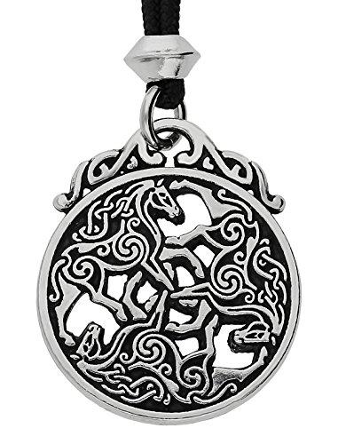 Epona Triple Goddess Celtic Divine Horse Equines Triskele Pewter Pendant (on cord)