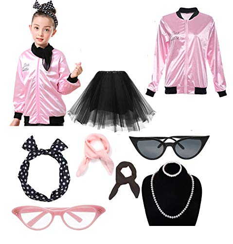 Dorigan 1950s Child Pink Ladies Jacket Costume with Tutu Skirt (Rhinestone Pink, -