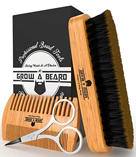 Beard Brush & Comb Set for Men Care - Gift Box & Friendly Bag - Best Bamboo Grooming Kit Great to Distributes Balm or Oil for Growth & Styling - Adds Shine & Softness (Beach Wood)
