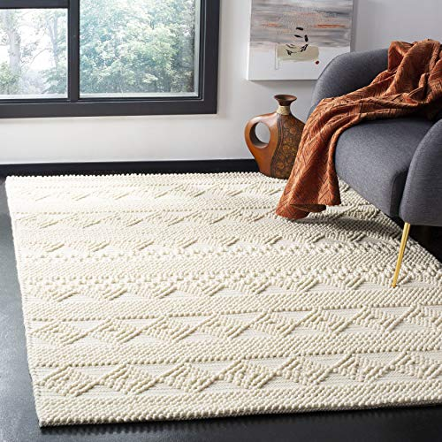 Safavieh Natura Collection NAT102C Handmade Moroccan Boho Tribal Wool & Cotton Area Rug, 4′ x 4′ Square, Ivory