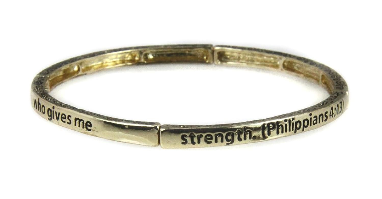 4030557 Petite Philippians 4:13 Christian Stretch Bracelet Jesus Religious Christ Bible Stackable