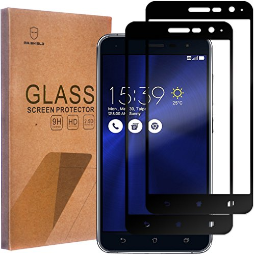 [2-PACK]-Mr Shield For Asus ZenFone 3 ZE520KL 5.2 Inch[Tempered Glass] [Full Cover] [Black] Screen Protector with Lifetime Replacement Warranty