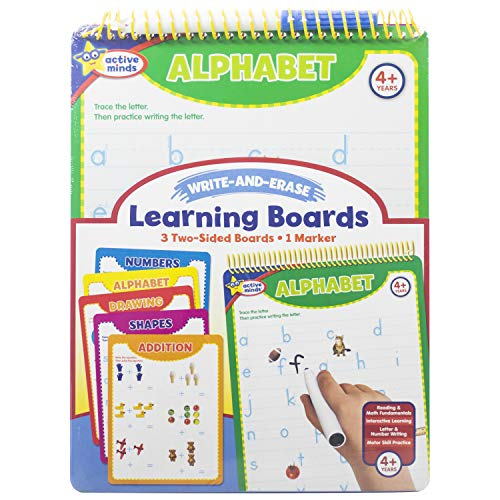 Active Minds - Write-and-Erase - Wipe Clean Learning Boards Ages 4+ - Numbers, Addition, Alphabet, Shapes, and Drawing]()