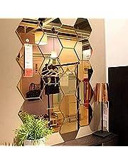 Spiegel-muursticker, zeshoekige spiegel, decoratie, zeshoekig, acryl, wandafbeelding, kunststof, tegels, thuis, woonkamer, slaapkamer, bank, tv, achtergrond, wanddecoratie, 12 stuks
