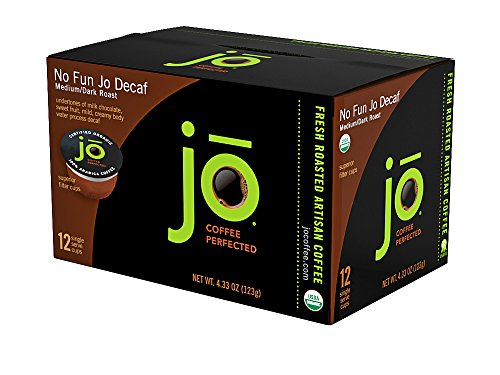 No Fun Jo Decaf  12 Cup Organic Decaf Single Serve Coffee For Kuerig K Cup Coffee Brewers  Medium Dark Roast  Keurig 1 0   2 0 Eco Friendly Cup  Water Process Decaf  No Additives  Non Gmo