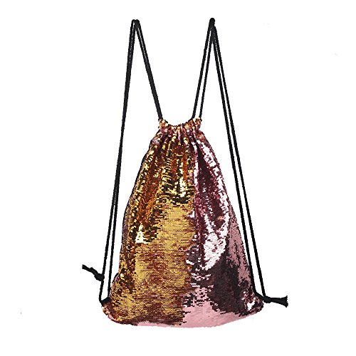 Menglihua Women Girls Magic Reversible Sequins Mermaid Casual Drawstring Shoulder Bag YellowPink One Size (Wicker Chair Ikea)