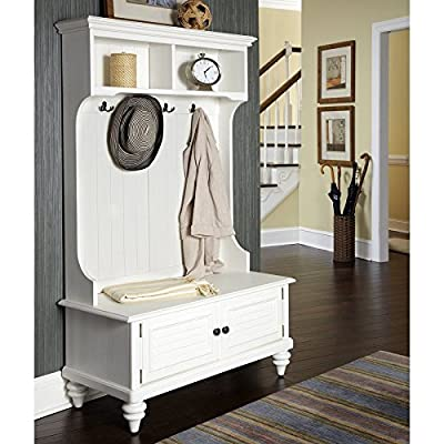 Home Styles Bermuda Brushed White Indoor Hall Tree Bench - Understand how to get organised NOW! Material: Wood and Eco-Friendly Product Warranty: Vendor replaces parts for 30 days - hall-trees, entryway-furniture-decor, entryway-laundry-room - 512tBdMGqWL. SS400  -
