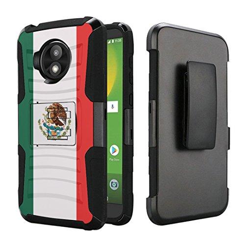 Mexico Clip - Moto E5 Play Case, Moto E5 Cruise Case, Capsule-Case Dual Layer Combat Armor Kickstand Case with Holster Combo (Black) for Motorola Moto E5 Play/Moto E5 Cruise - (Mexico Flag)