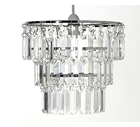 Chandelier Style 3 Tier Crystal Effect Pendant Light Shade. Clear ...