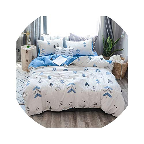 HANBINGPO Choiceness Plaid Bedding Set Twin Queen King Size Bed Linen Cartoon Black Blue Duvet Cover Set Cute Bed Sheet Kids Bedding,Colour 3,King Size 4pcs,Fitted Bed Sheet]()