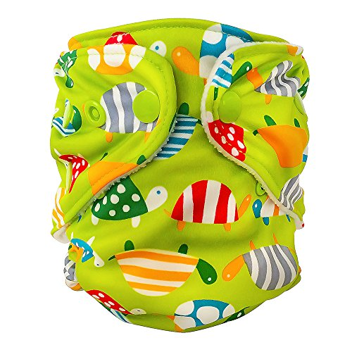 FuzziBunz Adjustable First Year Pocket Diaper - Turtle Time - Small - Snap