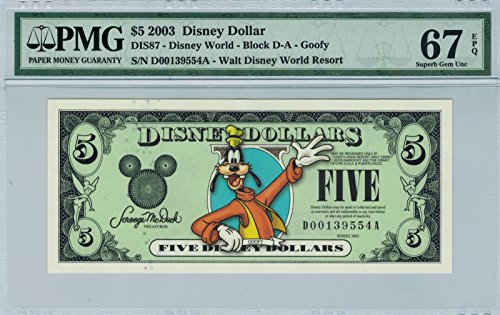 Pmg Superb Gem (Disney Dollar 2003 D $5 Goofy D00139554A PMG 67 EPQ Superb Gem)