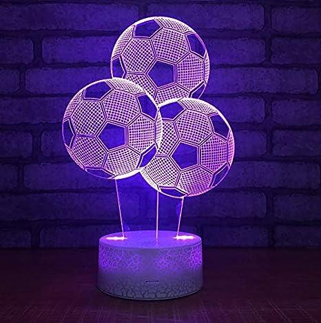Nueva forma de globo de fútbol 3D LED luz nocturna 7 cambio ...
