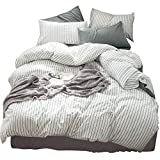 Black and White Duvet Covers MooMee Beddding Duvet Cover Set 100% Washed Cotton Linen Like Textured Breathable Durable Soft Comfy (3pcs, White&Black Stripe, Queen)