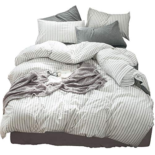 MooMee Bedding Duvet Cover Set 100% Washed Cotton Linen Like Bedding Textured Breathable Durable Soft Comfy (White&Black Stripe, Twin, 2 Piece Single Bed)