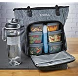 Fit & Fresh JAXX FitPak Meal Prep Lunch Bag with Portion Control Containers & Shaker Bottle, Commuter Series, Gray