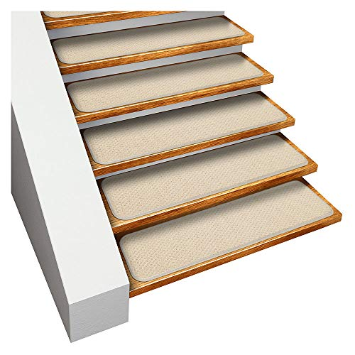 House, Home and More Set of 15 Skid-Resistant Carpet Stair Treads - Ivory Cream - 8 Inches X 23.5 Inches