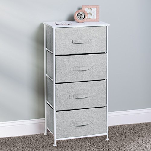 mDesign Fabric 4-Drawer Storage Organizer Unit for Bedroom, Nursery, Office - Gray Photo #4