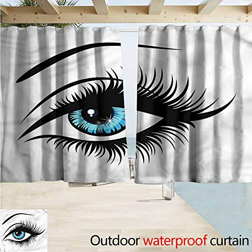 MaryMunger Indoor/Outdoor Top Curtain Eye Azure Blue Glance Cartoon Simple Stylish Waterproof W63x63L Inches