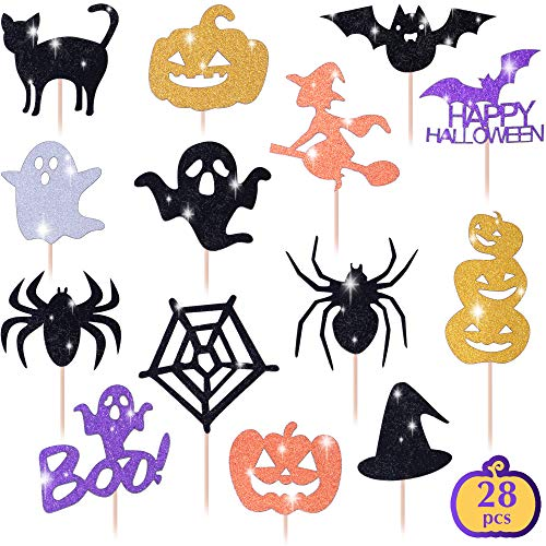 Halloween Cupcakes Real Simple (Get Fresh Halloween Cupcake Toppers Set, 28pcs Sparkly Set, Bat Witch Ghost Star, Baby Shower Food Picks Decor, Cupcake Halloween Party Picks, Halloween Cupcake)