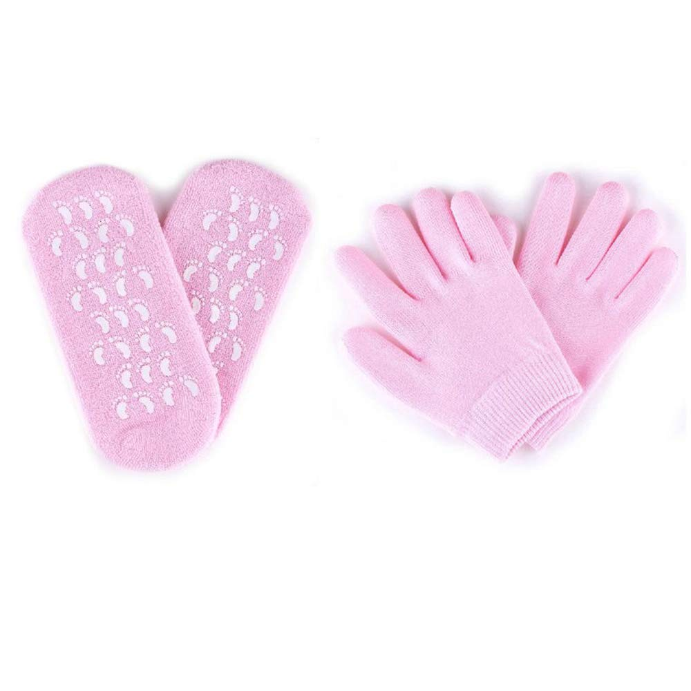 Hisight SPA Anti-Slip Moisturizing Gel Socks Gloves Adult Hands Skincare with Vitamin E For Dry Cracked Heel Care Skin Repair Therapy Treatment Recovery Socks Gloves (Pink)