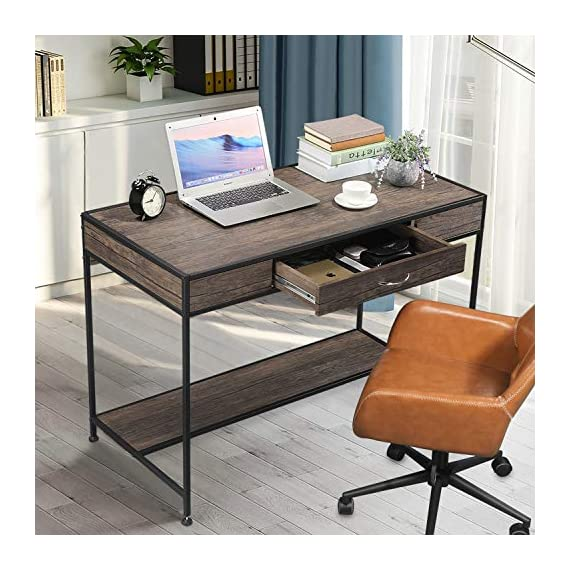 Aingoo Writing Computer Desk with Drawer Industrial Laptop Study PC Workstation Desk Table with Metal Frame for Home… -  - writing-desks, living-room-furniture, living-room - 512tDM0N4jL. SS570  -