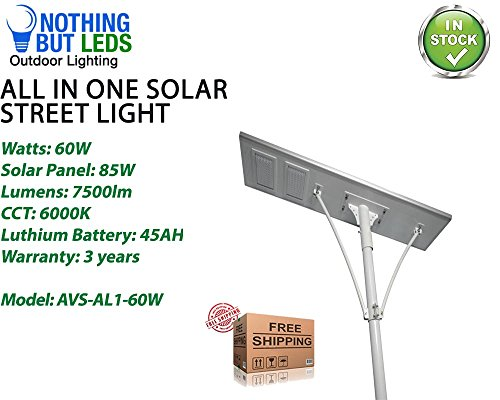 (All in One Solar Street Light 60W, Color Temperature 6000K, 7000lm, Solar Panel 85W/18V, Lithium Battery: 36AH/12V, LED No: 84 PCS, Light Type - 1S, Working Temp - -22°F ~ +60°F, 3 Years Warranty.)