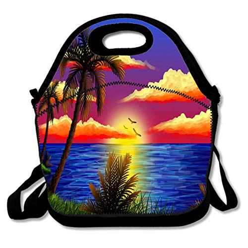 Neoprene Lunch Bag, Thick Insulated Lunch Box Bag For Women, Men & Kids - Lightweight Rugged Lunchbox For Travel,Picnic,School,Office - Tropical Palm Tree Sunset Oil Painting
