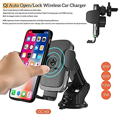 Wireless Car Charger Mount 15W - AutoCrew CC-60 Qi Fast Charging Auto-Clamping Car Mount,Operate FOD Senor, Windshield Dashboard Air Vent Phone Holder Compatible with iPhone, Samsung Galaxy (Brown): Electronics