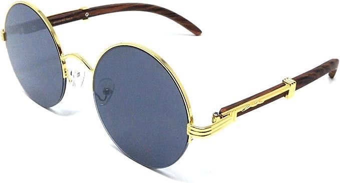 Professor Half Rim Round Metal /& Wood Eyeglasses//Clear Lens Sunglasses