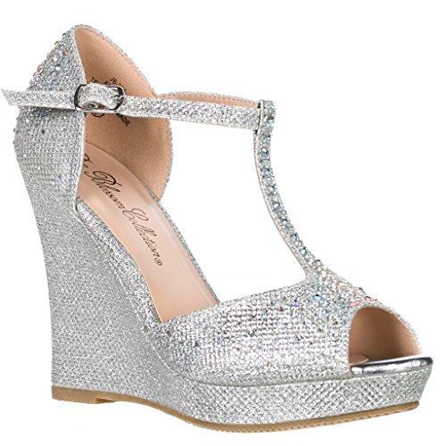 Deblossom Womens Dressy Glitter Strass T Cinghia Piattaforma Sandalo Con Zeppa Aalle-2 Argento-7
