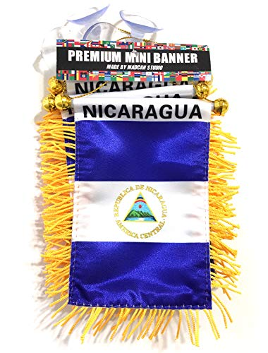 Nicaragua Nicaraguan Flags for car Interior Rearview Mirror or Home Sticks to Windows Glass Quick and Easy Quality Small Hanging Mini Banner Flags car Accessories (1 Flag)
