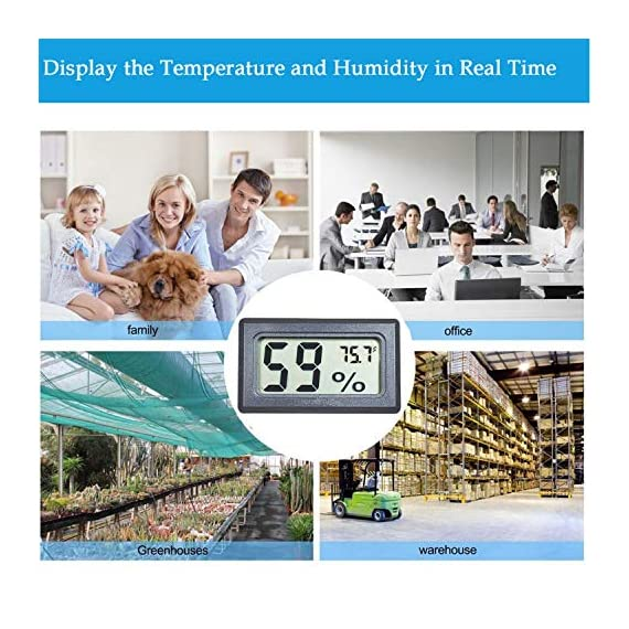 Veanic 4-pack mini digital electronic temperature humidity meters gauge indoor thermometer hygrometer lcd display fahrenheit (℉) for humidors, greenhouse, garden, cellar, fridge, closet 5 mini digital humidity thermometer allows you to easily know the temperature and humidity around you 2in1 meter with built-in probe; digital electronic thermometer and hygrometer for measuring temperature and humidity for indoor use fahrenheit (°f) display, this thermometer displays temperature in fahrenheit