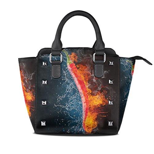 Jennifer PU Leather Top-Handle Handbags Cool Flaming Chili Pepper Single-Shoulder Tote Crossbody Bag Messenger Bags For Women
