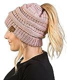 BT-6020a-9065 Messy Bun Womens Winter Knit Hat Beanie Tail - Rose (Metallic)