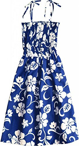 Family Cellars (RJC Women's Classic Hibiscus Hawaiian Smocked Sundress Royal Blue Large)