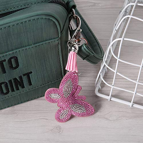 J&HO Home Butterfly Shaped Keychain Pendant DIY Point Drill Key Chain Pendant - Point Baby Rose Fork