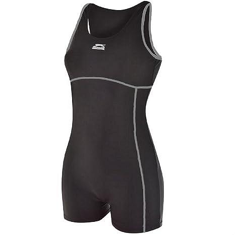 6b42e8f0eb16d3 Slazenger Damen-Badeanzug/Schwimmanzug, langes Bein, Triathlon, damen,  schwarz /
