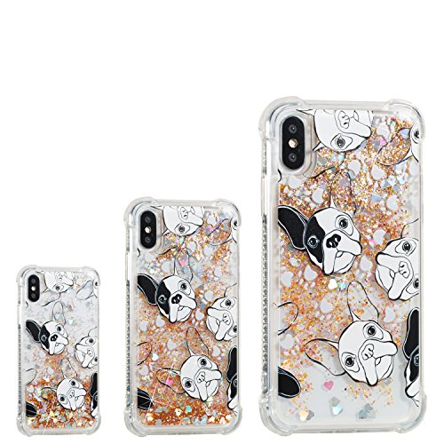 iPhone X Case (5.8-inch) [Floating Liquid], iPhone X Cover, MerKuyom Clear Crystal Soft TPU Transparent Flowing 3D Bling Sparkling Glitter Case Cover +Stylus For Apple iPhone X (Black White Dog) ()