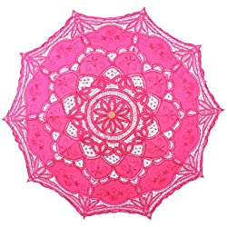 Topwedding Handmade Embroidered Cotton Wedding Umbrella Bridal Parasol, Roseo