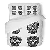 Emvency Bedding Duvet Cover Set Twin (1 Duvet Cover + 1 Pillowcase) Colorful School Sugar Skull with Floral Tattoo Old Traditional Day Dead Mexican Rose Hotel Quality Wrinkle and Stain Resistant