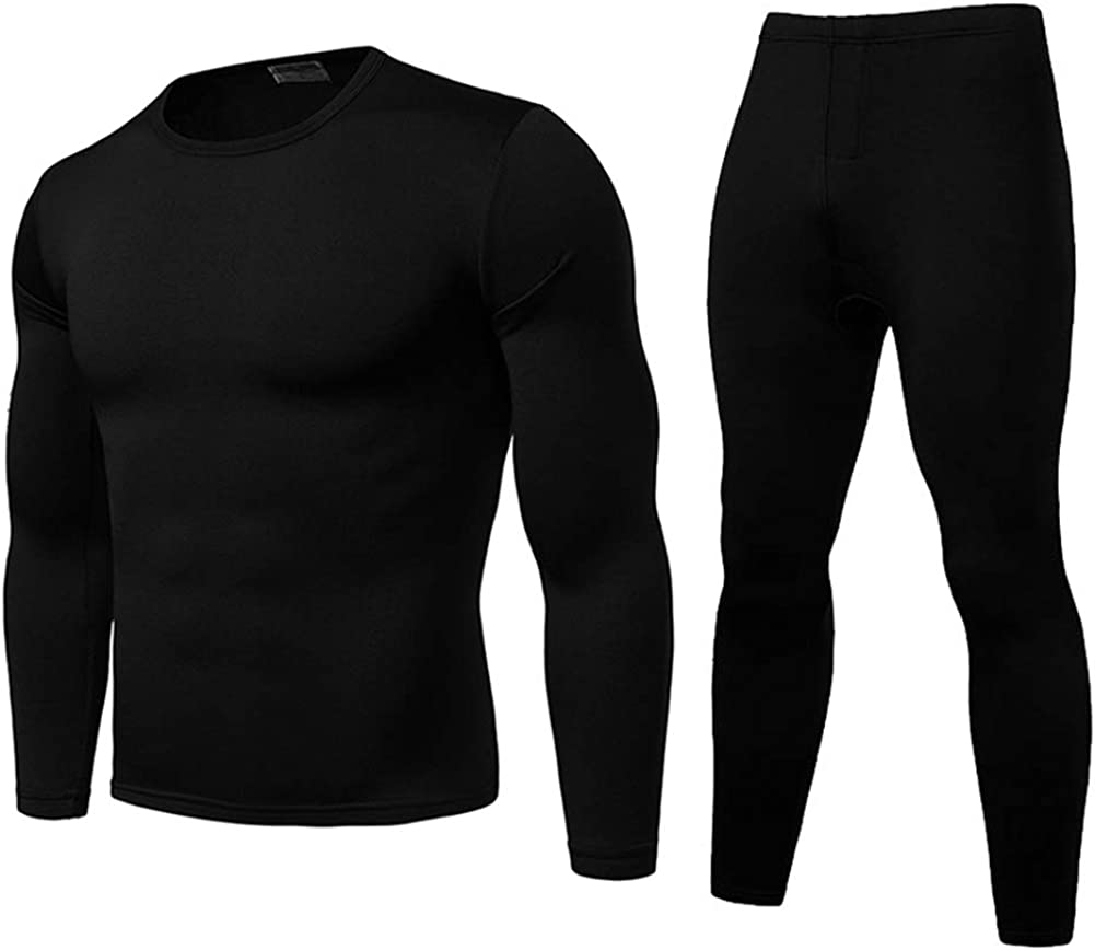 Mens Ultra Soft Thermal Underwear Set Winter Warm Base Layers Tight Long Johns Tops and Bottom Set with Fleece Lined