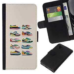 KLONGSHOP // Tirón de la caja Cartera de cuero con ranuras para tarjetas - Zapatillas de deporte de los zapatos de diseño de moda Beige Gráfico - LG Nexus 5 D820 D821 //